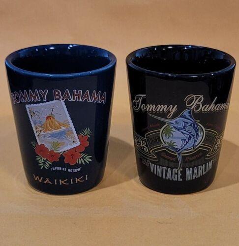 TOMMY BAHAMA Set of Two Ceramic Shot Classes 2 oz WAIKIKI + VINTAGE MARLIN New