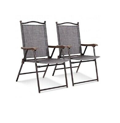 Set of 2 Gray Sling Back Chairs Outdoor Folding Deck Chairs