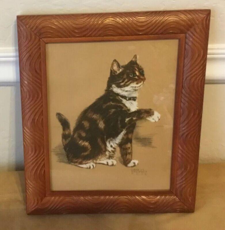 Vintage Kitty Cat Framed Art Print, Gladys Emerson Cook, Wood Tone Carved Frame