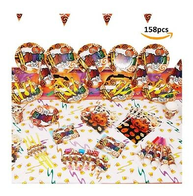 158 Halloween Party Set Including Banner,Plates,Cups,Napkins,Tablecloth,Balloons (Halloween Party Cups)
