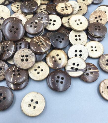 10 Kokos Knopf Knöpfe Buttons 2 Löcher Rosa Emaille 25mm