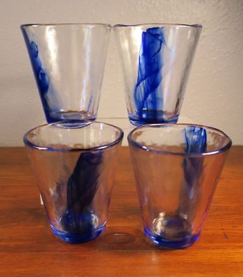 - FOUR Bormioli Rocco Blue Art Glass Highball Glasses Tumblers
