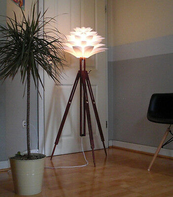 Retro 60er Tripod Stehlampe LOTUS WOOD Space Age Design Lampe Panton Leuchte