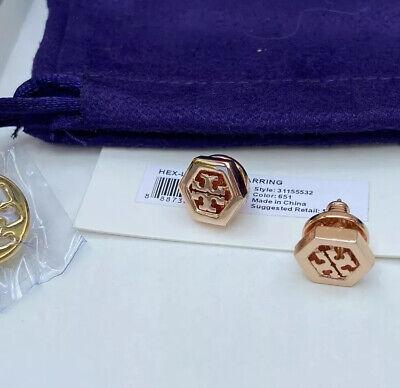 NWT Tory Burch Rose Gold Logo Studs Earrings