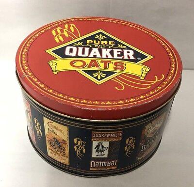 - 1983 PURE QUAKER OATS COLLECTIBLE TIN BOX STORAGE CONTAINER KICHEN DECOR