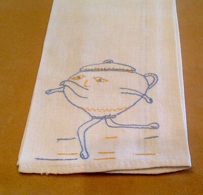 Vintage Show Or Kitchen Towel, Cotton, Off White, Embroidered Teapot, Blue