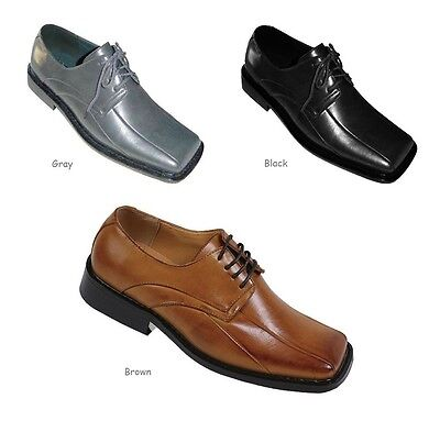 Men's Dress Shoes Man-Made Leather w/ Square Toe A3391 Black Brown & Gray Black Leather Dress Shoes