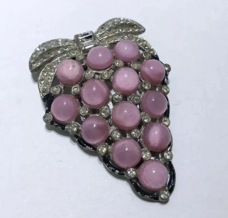 Antique Pink Glass Moonstone Rhinestone Vintage Dress Clip