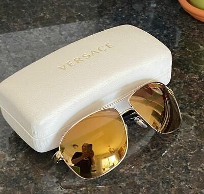 Versace Aviator Sunglasses 2112 1252/f9 Mirrored Gold Frames with Case