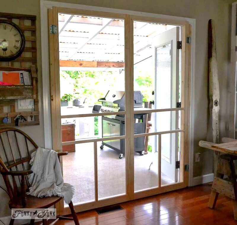 How To Build A Cheap Screen Door For French Doors With Two Wooden Framed  Screen Doors