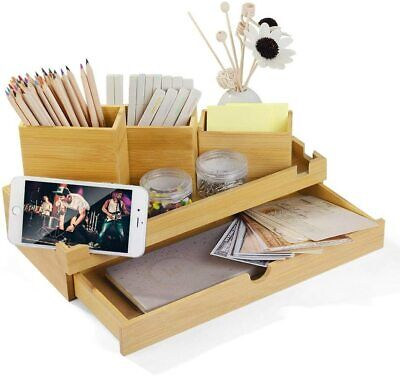 Wooden Desk Organizer Pen Pencil Holder Caddy With Drawer School Office Supply