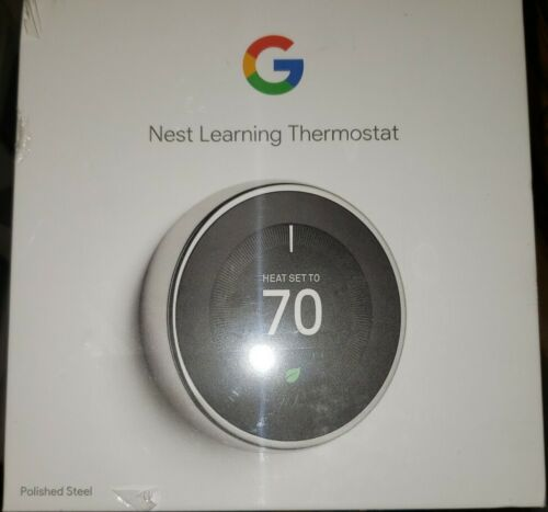 Brand New Google Nest 3rd Gen. Learning Thermostat - Stainle
