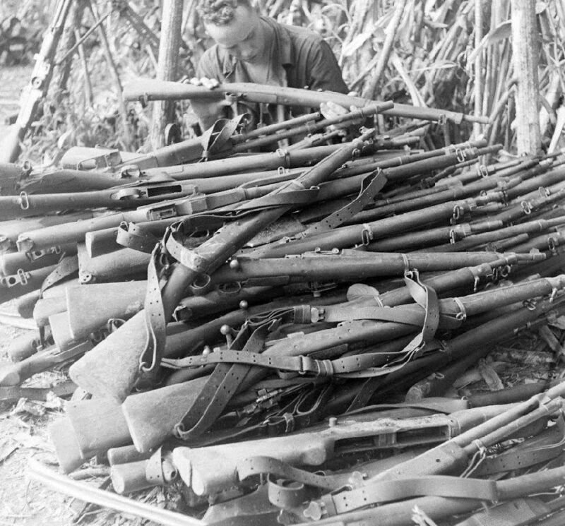 WW2 Photo WWII  New Guinea Pile of Rifles  Australia World War Two /1439