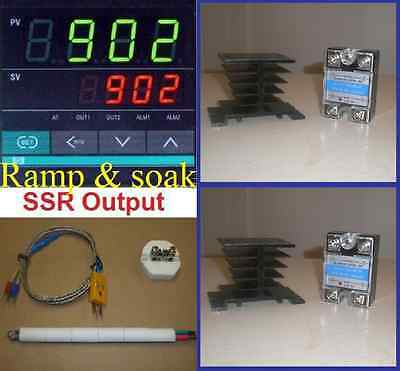 Ramp Soak Temperature Controller Kiln 2 Ssr Thermocouple Programmable Fr 220v