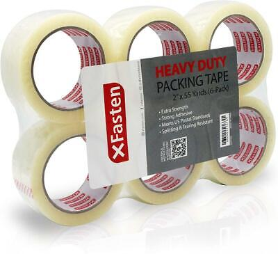 XFasten Heavy Duty Clear Packing Tape, 2-Inch x 55-Yard, Pack of 6 6