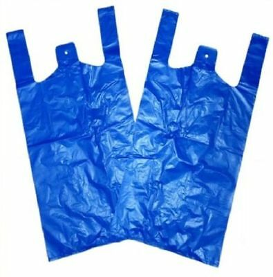 500 Strong Blue Carrier Bags Vest XXL Large Jumbo 18mu 12x18x23