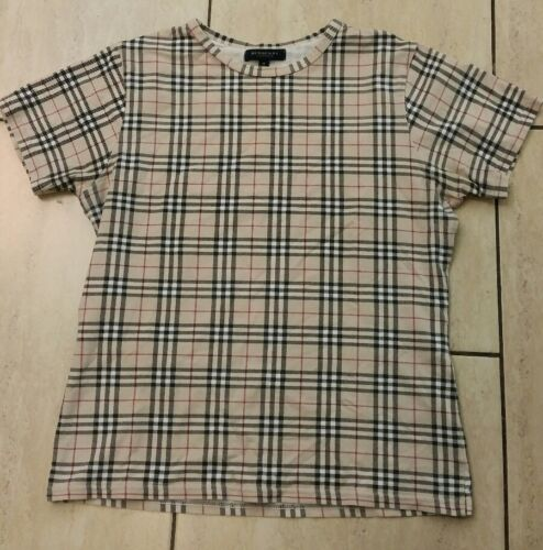 Burberry London Womens Short Sleeved crew neck beige Checked T-shirt Size M