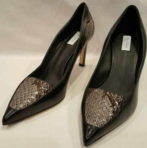 1a7480d7737b  NWOT  MAX MARA Vero Cuoio Heels Pumps-Leather Black and Snakeskin Size 38