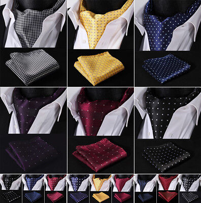 - Hisdern Classic Polka Dot Men Silk Cravat Ascot Tie Pocket Square Wedding Set B3