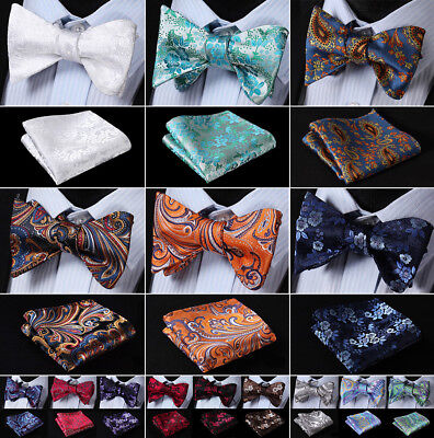 Mens Silk Floral Paisley Self Bow Tie Jacquared Bow Ties Handkerchief - Cheap Bow Ties
