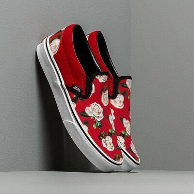 RARE Vans Classic Slip-On Romantic Floral Chili Pepper Shoes