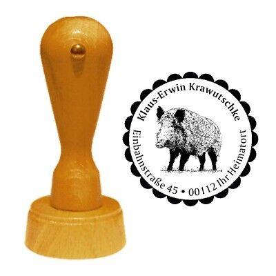 Stempel « WILDSCHWEIN 02 » Adressenstempel Motiv Tiere Wald Förster Jäger Jagd