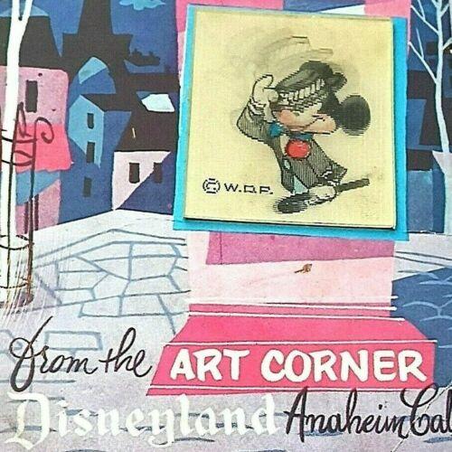 Vintage Old Mickey Mouse Disneyland Postcard Art Corner Lenticular Signed 1957