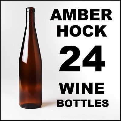 Hock Wine Bottles (WINE BOTTLES AMBER STRETCH HOCK BRAND NEW 2 CASES OF 12 750ml FOR SWEET WHITES )