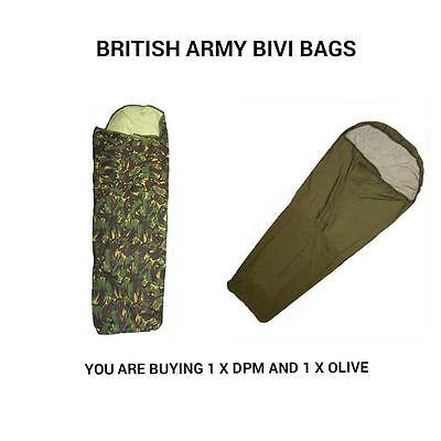 BRITISH ARMY OLIVE AND DPM BIVI BAGS - X 2 - GORETEX - USED - WATERPROOF