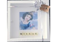 Snow White Scrabble Picture Frame .....Can be Personalised.