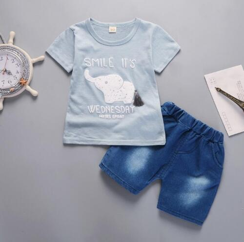 2pcs baby toddler Kids girls boys summer outfits T shirt + short pants smile