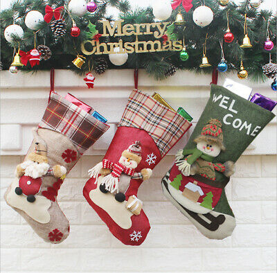 Large Christmas Stocking (Christmas Stocking 18in 3D Santa Snowman Xmas Christmas Decorations Large)