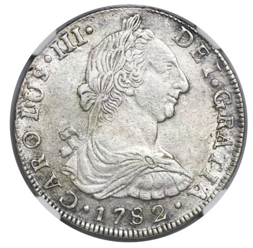 Potosi, Bolivia, Silver Bust 8 reales, Charles III, 1782 PR, NGC AU 53, KM-55