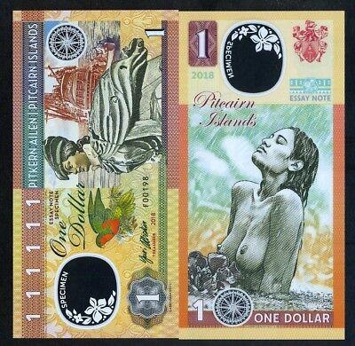 PITCAIRN ISLANDS 1 DOLLAR 2018 BEAUTIFUL GIRL SOUTH PACIFIC FANTASY POLYMER