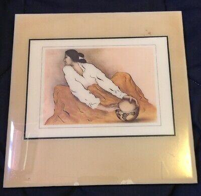 "RC Gorman R.C. Native American Painted Tile Ceramic Art Pottery Keeper 7.75"""