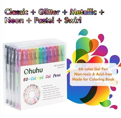 60 Gel Pen Set Adult Coloring Books Best Neon Pastel Metallic Glitter Art Color