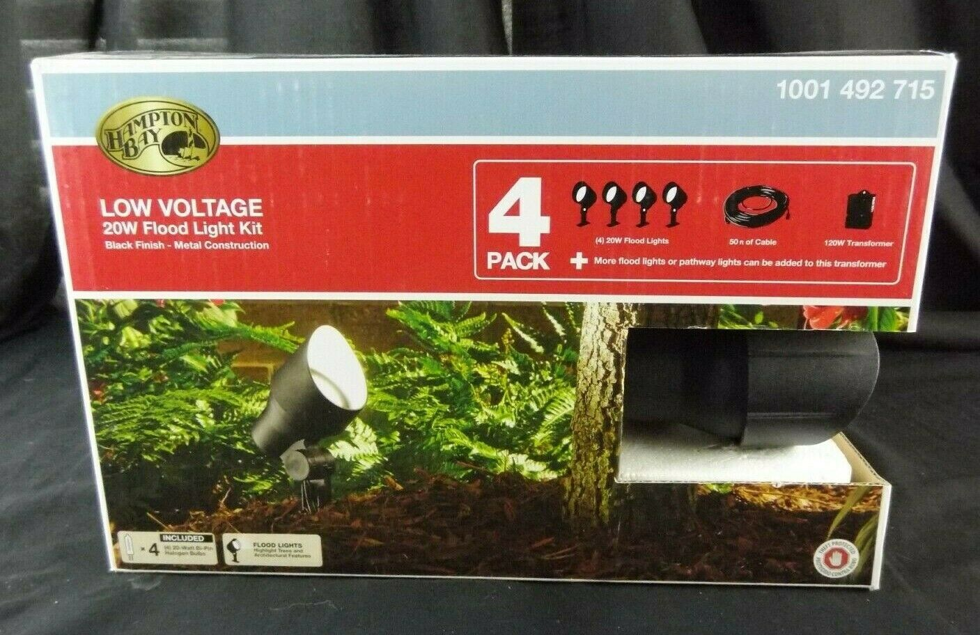 4-Pack Low Voltage 20W Flood Light Kit / 120 Power Pack
