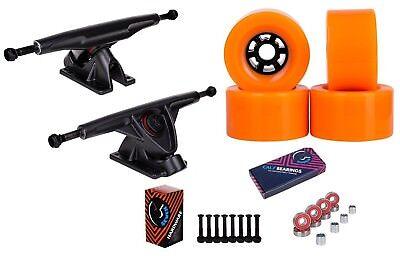 """Cal 7 Longboard 10.75"""" Axle Truck Bearing 90mm Orange Skateboard Wheels"""
