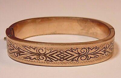 Victorian Gold Filled Taille d'Epargne Enamel Hinged Bangle Bracelet Mourning