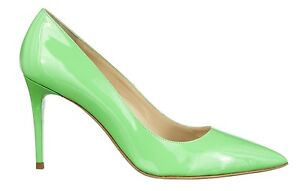 MORI-MADE-IN-ITALY-POINTY-HIGH-HEELS-PUMPS-DECOLTE-SCHUHE-LEATHER-GREEN-VERDE-42