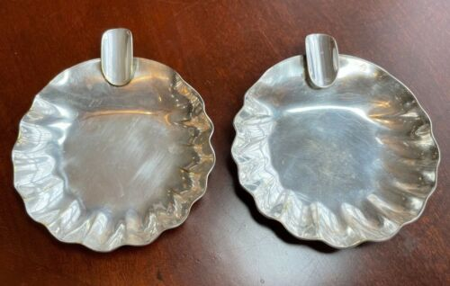 Set of 2 Industry Argentina Silver Plated Small Ashtrays