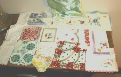 Mix Lot Hankies Mixed Floral Embroidered Crochet Cotton Linen Madeira Portugal