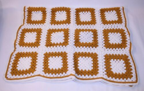 Rare VTG Afghan Granny Blanket Throw Handmade Lap Crochet Knit Chair White Brown