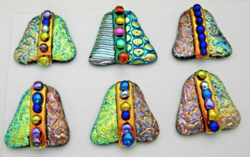 set 6 pcs DICHROIC FUSED GLASS (T11) CABOCHON for WIRE WRAPPING, PENDANTS