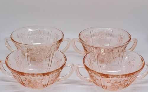 """Set of 4 Federal Glass Sharon Pink """"Cabbage Rose"""" Two-Handled Cream Soup Bowls"""