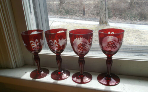 SET OF 4 MATCHING ANTIQUE RUBY RED CUT TO CLEAR BOHEMIAN WHIEEL CUT WINE GLASSES