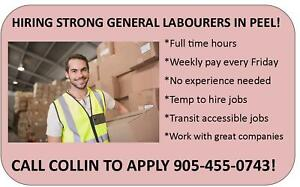 HEAVY LIFTING GENERAL LABOUR JOBS IN MISSISSAUGA!