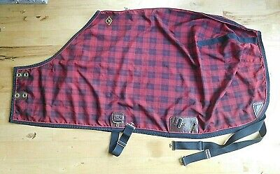 Big D Nylon Sheet - 68 Big D Lined Nylon Sheet Summer Horse Turnout Red & Black Plaid (SH269)