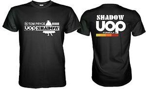 UOP SHADOW TOM PRYCE RETRO F1 BLACK T-SHIRT Size S M L XL 2XL 3XL