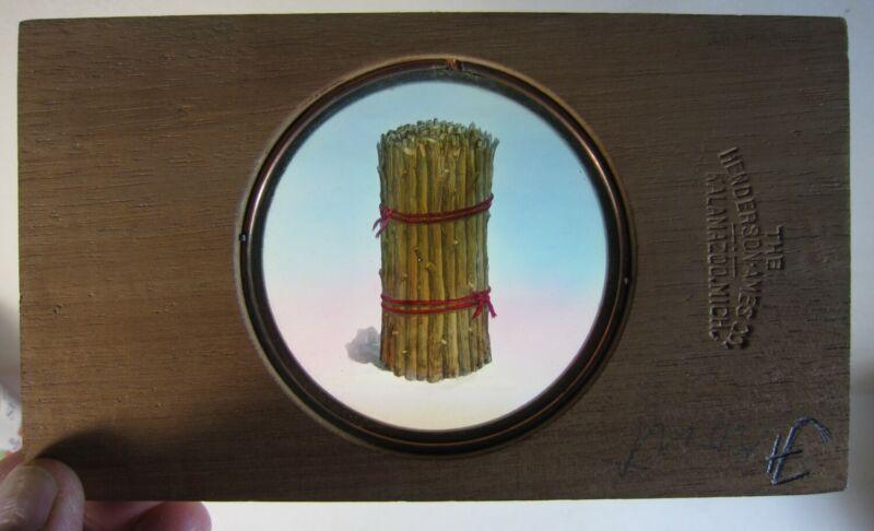 Antique Magic Lantern Glass Slide Odd Fellows BUNDLE OF STICKS Wood Frame